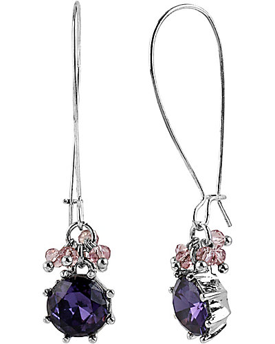 ICONIC AMETHYST LONG DROP EARRING PURPLE