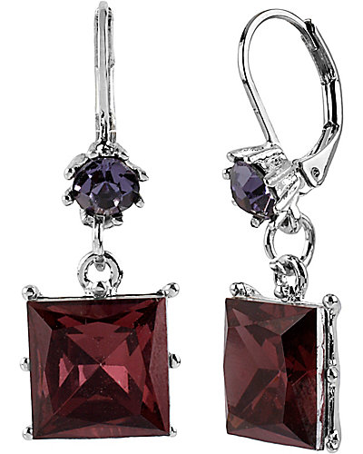 ICONIC AMETHYST SQUARE GEM EARRING PURPLE