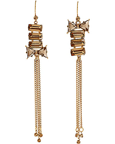 ICONIC BOW GEM MULTI  CHAIN EARRING BROWN GOLD
