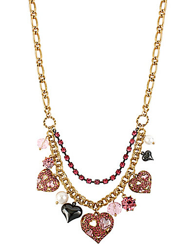 ICONIC PINKALIOUS HEART CHARM NECKLACE FUSCHIA