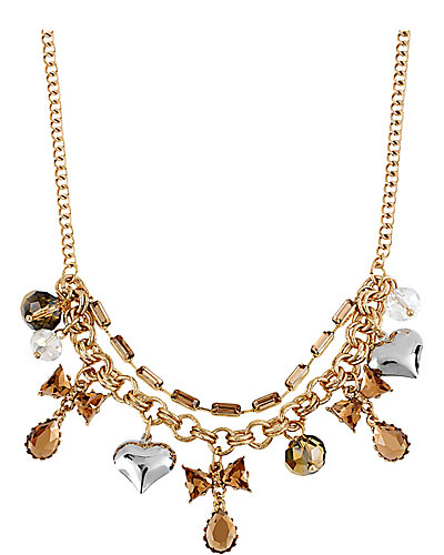 ICONIC TOPAZ BOW CHARM NECKLACE BROWN-GOLD