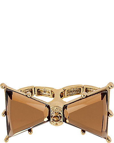 ICONIC TOPAZ BOW STRETCH RING BROWN-GOLD