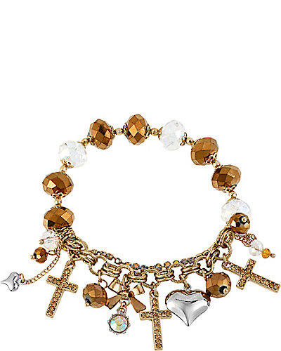 ICONIC TOPAZ CROSS CHARM BRACELET BROWN GOLD