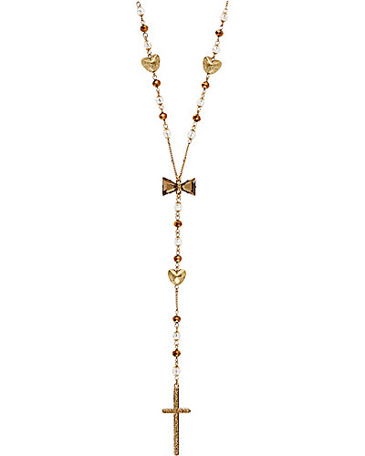 ICONIC TOPAZ ROSARY Y NECKLACE BROWN GOLD