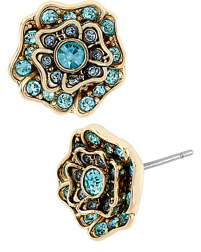 IMPERIAL BLUE ROSE STUD EARRING BLUE