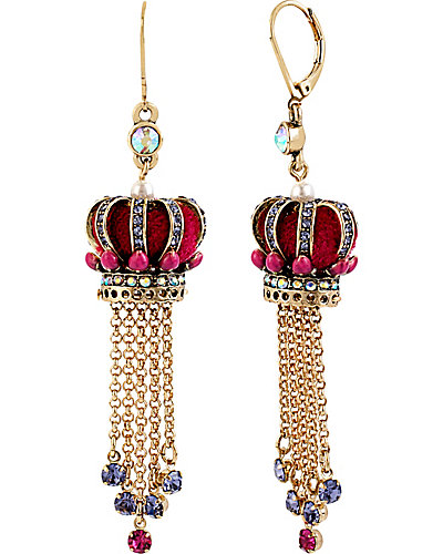 IMPERIAL CROWN LINEAR EARRING PINK