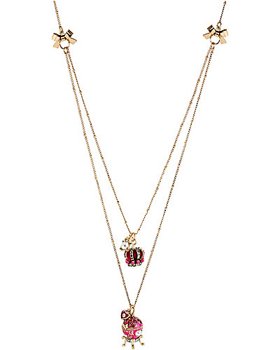IMPERIAL FABREGE EGG CROWN NECKLACE PINK
