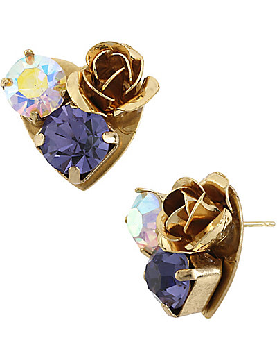 IMPERIAL ROSE HEART EARRING PURPLE