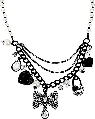 JET SET BOW MULTI CHARM NECKLACE CRYSTAL