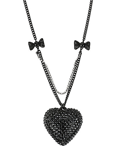 JET SET HEART LONG PENDANT CRYSTAL