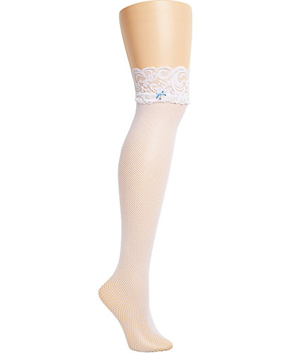 LACE AND BOW THIGH HIGH STOCKING WHITE