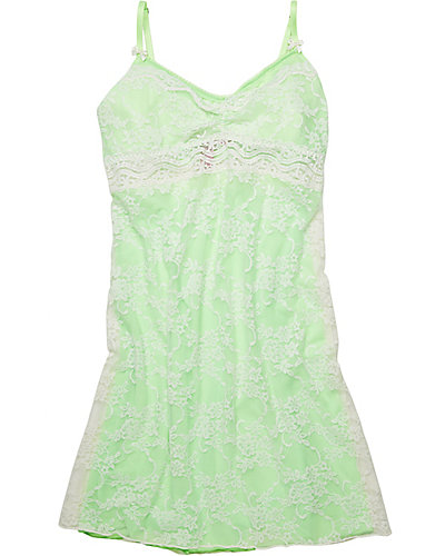 LACE AND MESH SLIP GREEN