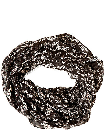 LACE ATTRACTION CHAIN EDGE INFINITY SCARF WHITE