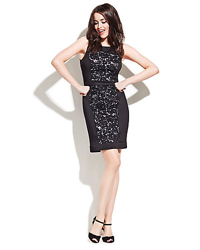 LACE BLOCKED DRESS WITH INSETS BLACK