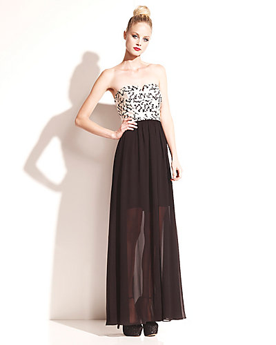 LACE BODICE MAXI DRESS BLACK WHITE