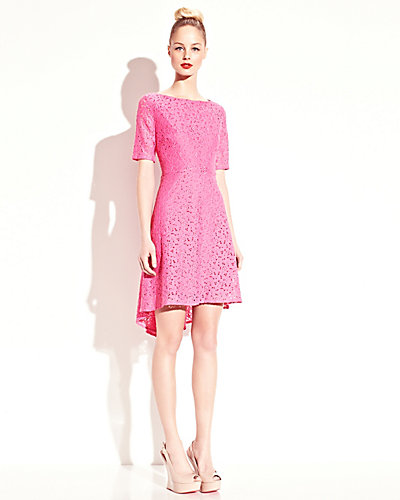 LACE SHORT SLEEVE DRESS PINK