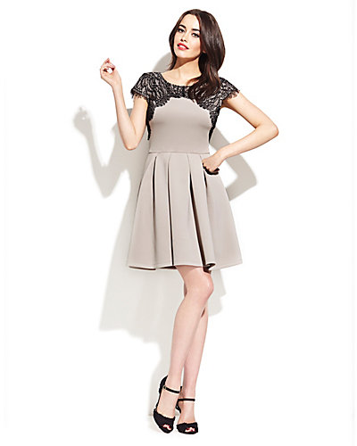 LACE SHOULDER CAP SLEEVE DRESS TAUPE