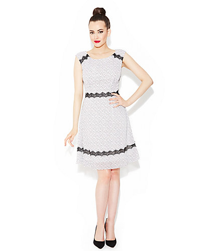 LACEY TRIMMED DRESS WHITE-BLACK