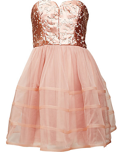 LASER CUT FAUX LEATHER PARTY DRESS ROSE GOLD