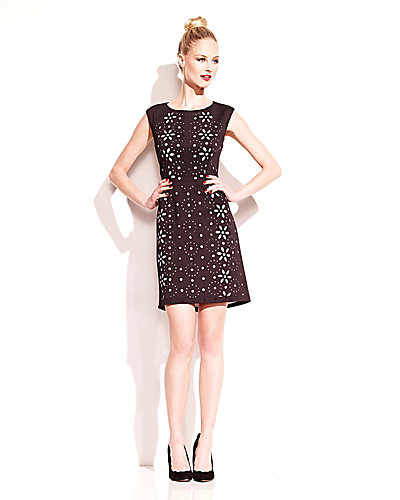 LASER CUT SCUBA DRESS BLACK