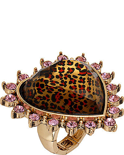 LEOPARD HEART STRETCH RING LEOPARD