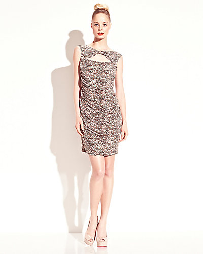 LEOPARD RUCHED DRESS LEOPARD