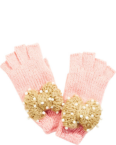 LITTLE PEARLS FINGERLESS GLOVES PINK