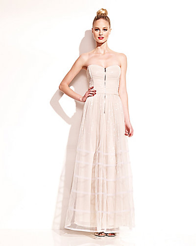 LONG DRESS WITH SEQUIN BODICE IVORY