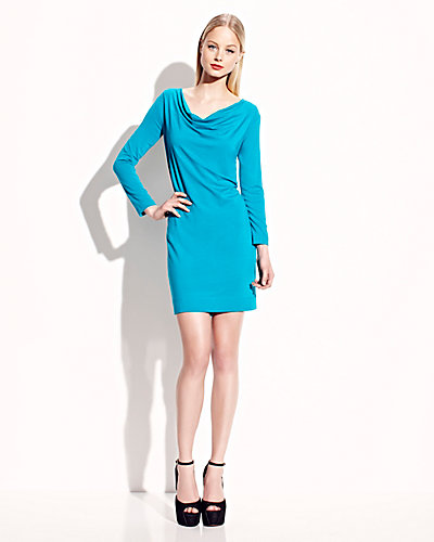 LONG SLEEVE ZIP BACK TWO WAY DRESS TEAL