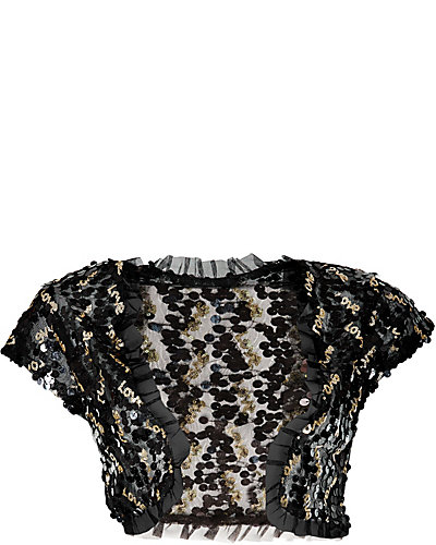 LOVE SEQUIN SHRUG BLACK