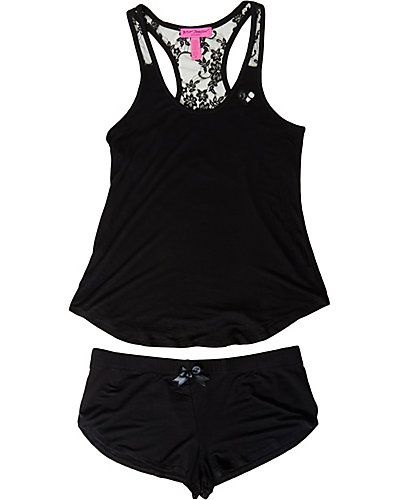 LUREX HEART RAYON KNIT SHORT SET BLACK