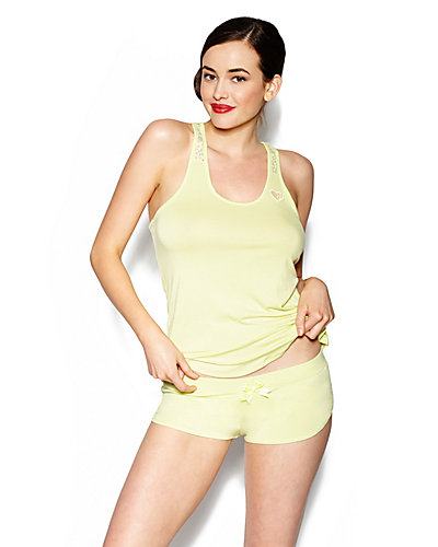 LUREX HEART RAYON KNIT SHORT SET CITRON