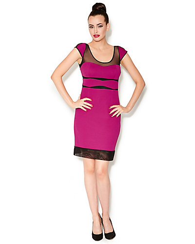 MESH CUTOUT BUSTIER DRESS FUSCHIA