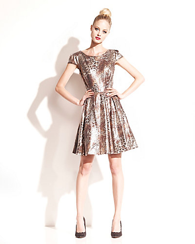 METALLIC ANIMAL PRINT DRESS GOLD