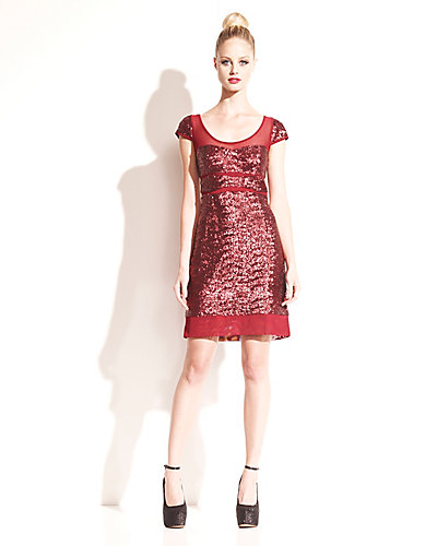 METALLIC RED PARTY DRESS BURGUNDY