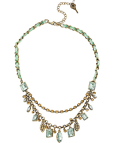 MINT CHARMS ON BRAID CHAIN NECKLACE MINT