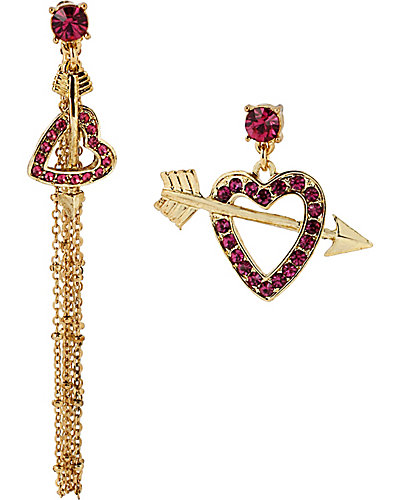 MISMATCH HEART ARROW EARRING CRYSTAL
