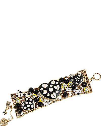 MULT HEART TOGGLE BRACELET BLACK-WHITE