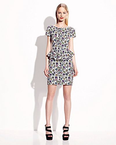 MULTI LEOPARD DRESS WITH PEPLUM LEOPARD-MULTI