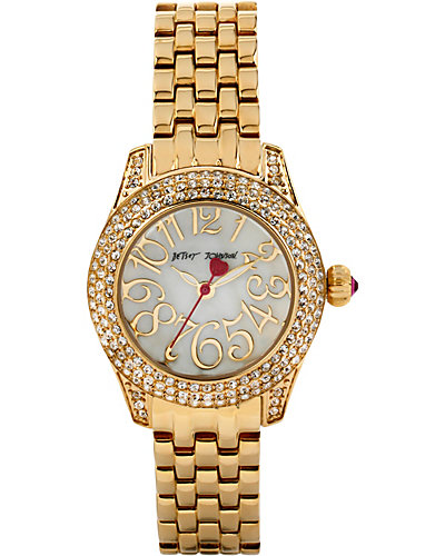 MULTI ROW CRYSTAL GOLD WATCH GOLD