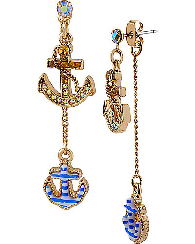NAUTICAL ANCHOR DROP EARRING BLUE
