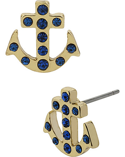 NAUTICAL ANCHOR STUD EARRING BLUE
