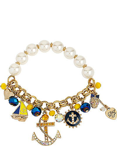 NAUTICAL CHARM HALF STRETCH BRACELET BLUE MULTI