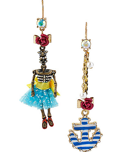NAUTICAL GIRL ANCHOR MISMATCH EARRING MULTI