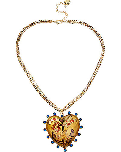 NAUTICAL PIN UP GIRL HEART PENDANT YELLOW