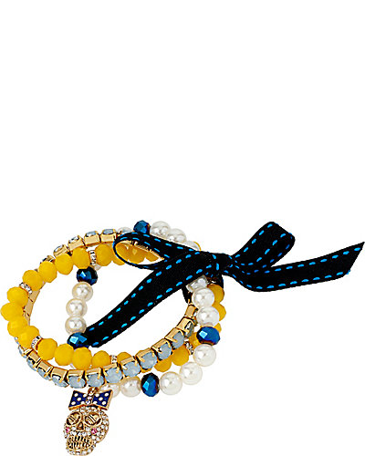 NAUTICAL SKULL CHARM 3 BRACELET SET BLUE MULTI