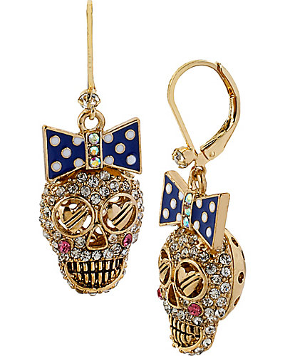 NAUTICAL SKULL DROP EARRING BLUE