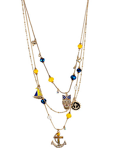 NAUTICAL SKULL ILLUSION NECKLACE BLUE MULTI