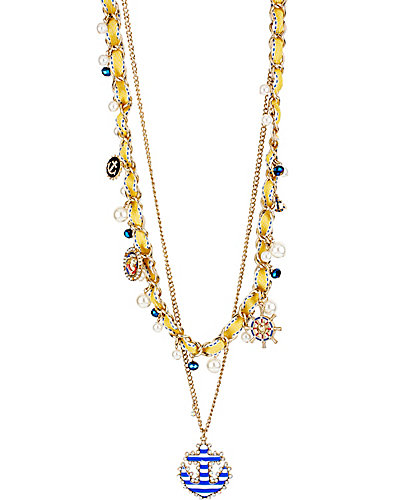 NAUTICAL YELLOW 2 ROW NECKLACE BLUE MULTI