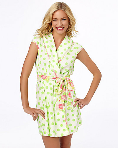 NEW BABY TERRY ROBE WHITE-GREEN
